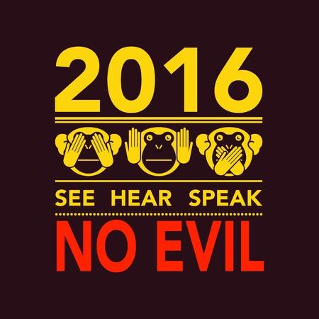 Non vedere il male, non sentire il male, non parlare male. Illustrazione vettoriale.