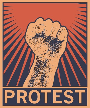 soviet: Hand Up Proletarian Revolution - Vector Illustration Concept in Soviet Union Agitation Style. Fist of revolution. Human hand up. Red background. Design element. Illustration