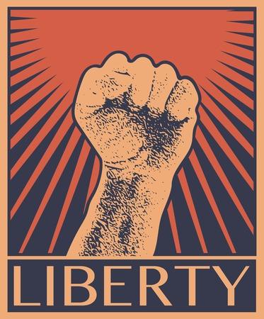 agitation: Hand Up Proletarian Revolution - Vector Illustration Concept in Soviet Union Agitation Style. Fist of revolution. Human hand up. Red background. Design element. Illustration