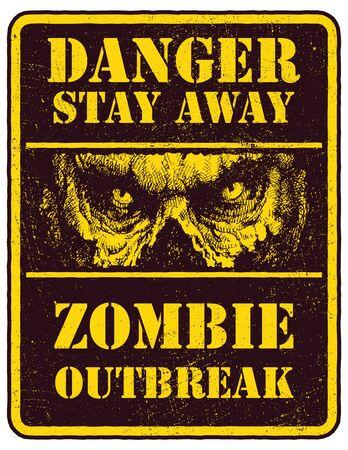 demonio: Cartel del brote del zombi. Tarjeta de la muestra con la cara de zombies, las fuentes escritas a mano, las palabras Zombie Dejar brote. Ilustración del vector. Eps8 Vectores