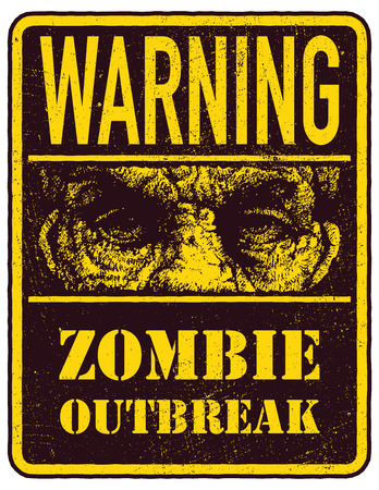 madman: Cartel del brote del zombi. Tarjeta de la muestra con la cara de zombies, las fuentes escritas a mano, las palabras Zombie Dejar brote. Ilustraci�n del vector. Eps8 Vectores