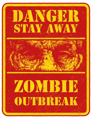 madman: Cartel del zombi. Tarjeta de la muestra con la cara zombie, palabras Zombie Dejar brote. Ilustraci�n del vector. Eps8 Vectores