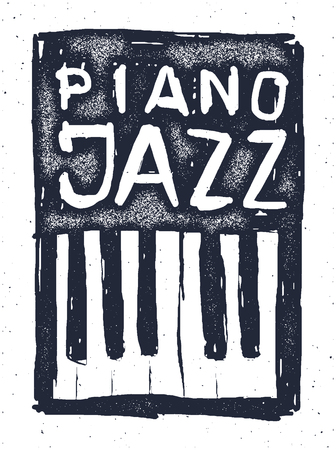 writing instruments: Playing the jazz piano. Hand drawn Vector illustration.