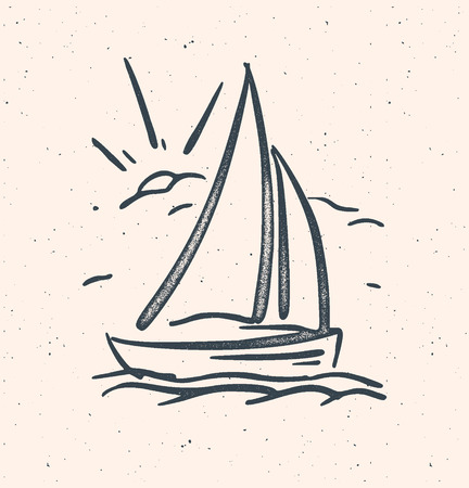 caravelle: Vector illustration dessinée à la main avec bateau à voile. Vecteur baclground
