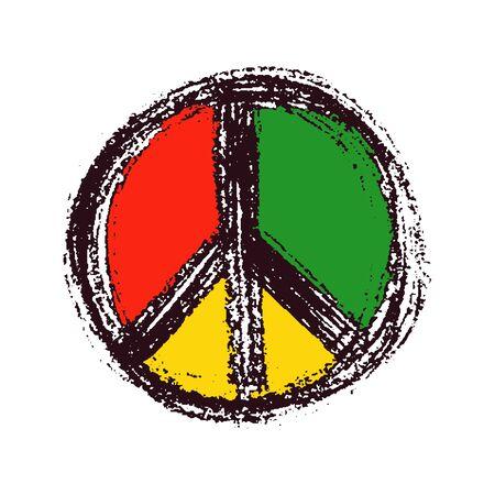simbolo della pace: Pace simbolo disegno. Disegnato a mano. Illustrazione vettoriale