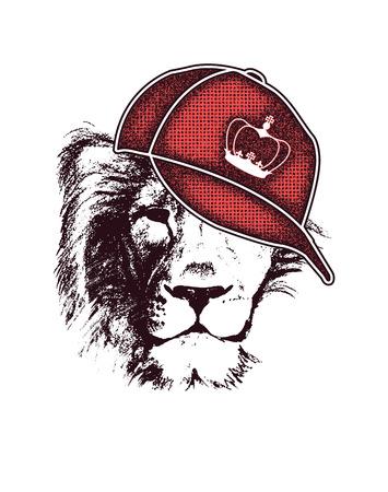 lion dessin: tête de lion. tiré par la main. Grunge illustration vectorielle