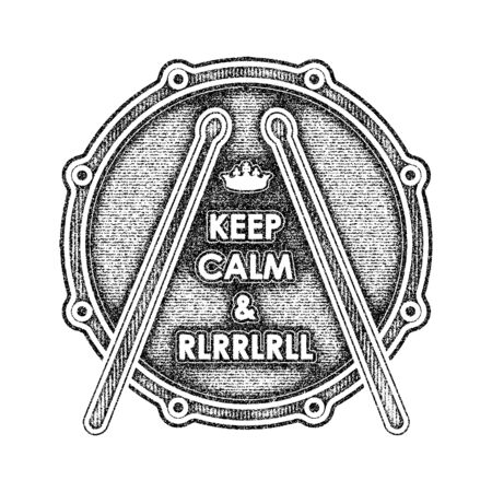 strikken: Snare drum with Keep calm and rlrrlrll inscription. Vector illustration Stock Illustratie