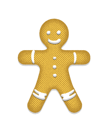 icing: Gingerbread man decorated colored icing. Holiday cookie in shape of man. Illustration