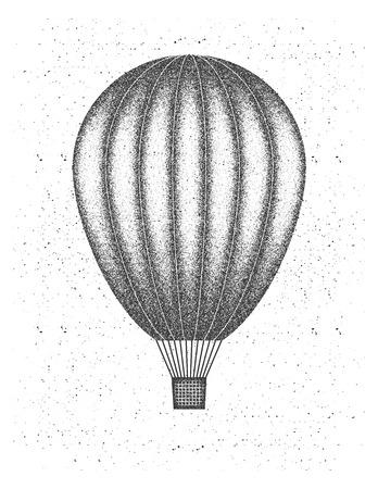 balon: Hot air balloon illustration in grunge style.