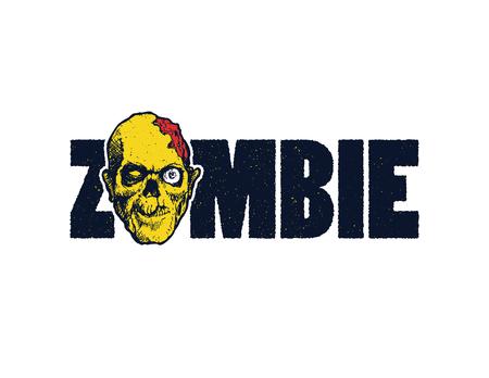 maggot: illustration of Cartoon zombie. Hand drawn. Illustration