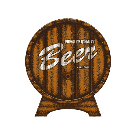 barrel: Beer label in form wooden barrel.