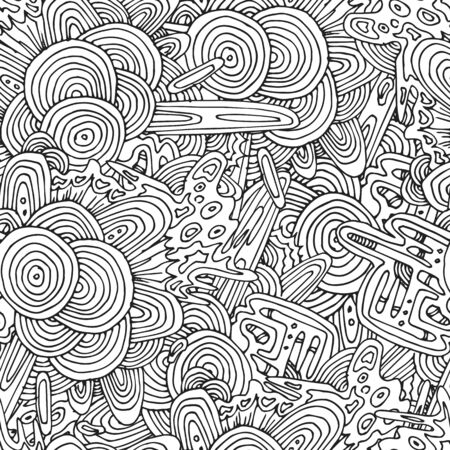 cut logs: Seamless circles hand-drawn pattern, circles background. Illustration