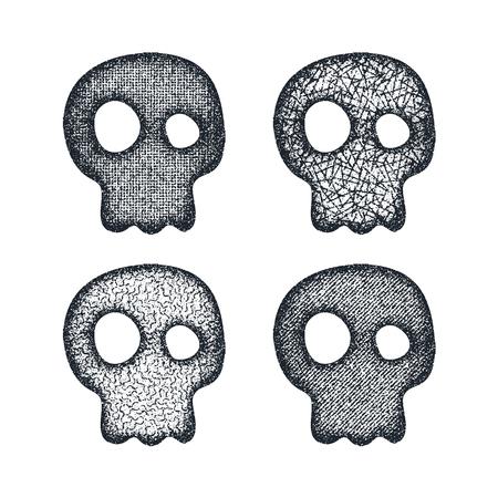human head: Ornament skull set. Vector illustration