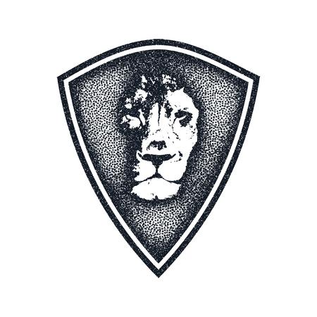 dingbat: Lion face logo emblem. Vector Vintage Design Element.