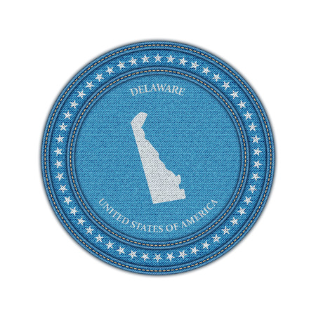 travel star: Label with map of delaware. Denim style. Vector eps 10 Illustration