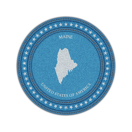 travel star: Label with map of maine. Denim style. Vector eps 10