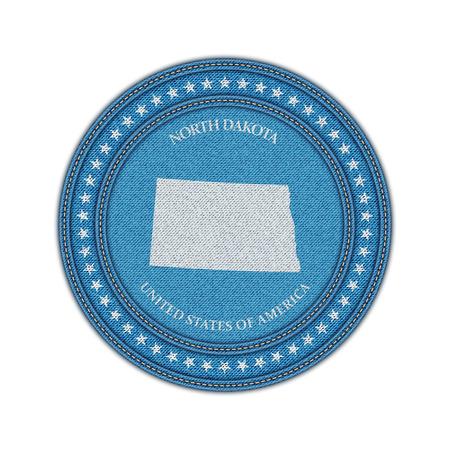 travel star: Label with map of north dakota. Denim style. Vector eps 10
