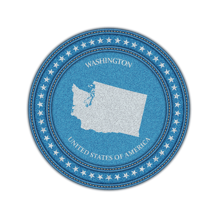 travel star: Label with map of washington. Denim style. Vector eps 10