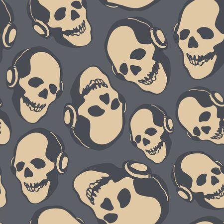 dirty teeth: Grunge seamless pattern with skulls.  Hand drawn. Vector illustration. Illustration