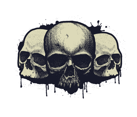Black and white human skull. Hand drawn vector illustration Illustration