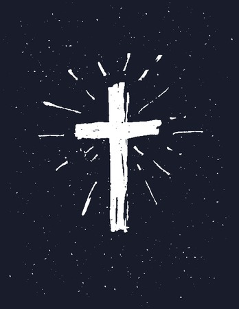 Dibujado a mano icono de la cruz blanca del grunge, simple signo de la cruz cristiana, aislado sobre fondo negro.
