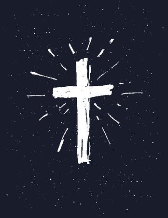 Hand getrokken witte grunge kruis pictogram, eenvoudig Christelijke kruis teken, geïsoleerd op een zwarte achtergrond.