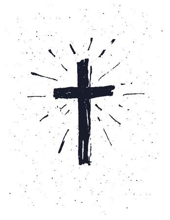 Hand getekende zwarte grunge kruis pictogram, eenvoudig Christelijke kruis teken, geïsoleerd op een witte achtergrond. Stock Illustratie