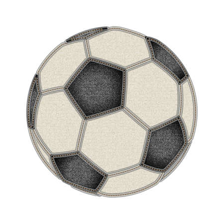 beauty contest: Soccer ball on blue jeans background. Jeans and soccer concept. Denim background for soccer championship. Fashion and Soccer. Vector illustration