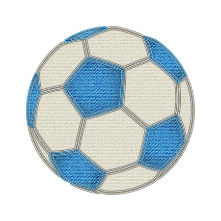 cotton fabric: Soccer ball on white background. Jeans and soccer concept. Denim background for soccer championship. Fashion and Soccer. Vector illustration