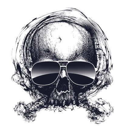 substructure: Black and white human skull with sunglasses. Hand drawn vector illustration Illustration