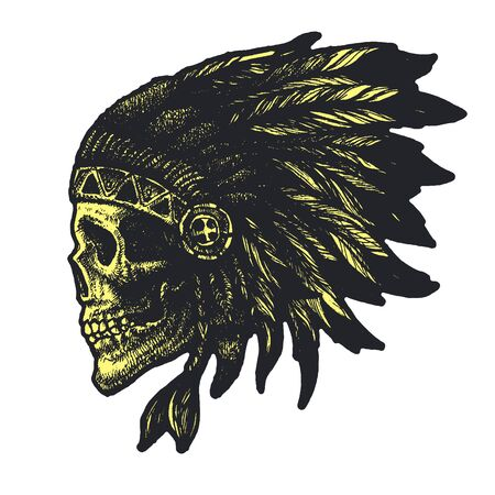 strong men: skull indian chief hand drawing style vector illustration