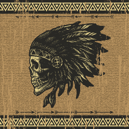 skull drawing: skull indian chief hand drawing style vector illustration