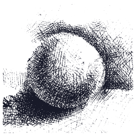 old hand: Hand drawn volumetric ball, sphere, circle with shadow for text space. Doodle, cartoon style
