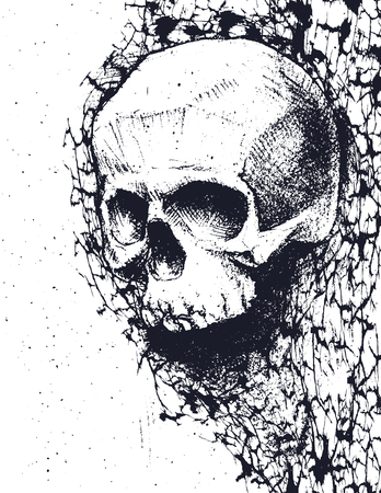 hand torn: Black and white human skull. Hand drawn vector illustration Illustration