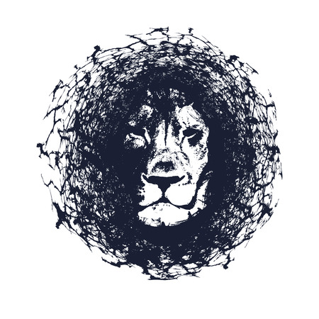 Leeuw. Vector illustration in grunge stijl. Element voor uw ontwerp. Stockfoto - 58784593