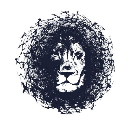 Lion. Vector illustration in grunge style. Element for your design.