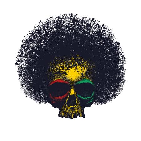 skullcap: Skull reggae graphic design vector illustration.