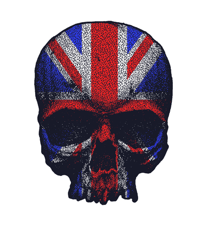 hand torn: Black and white human skull with greate britain flag. Hand drawn vector illustration