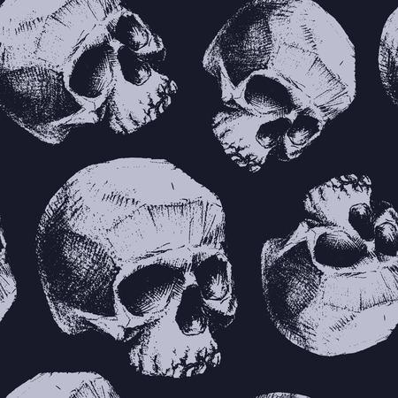 dientes sucios: Grunge seamless pattern with skulls. Hand drawn. Vector illustration.
