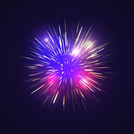 christmas in july: Festive Golden Firework Salute Burst on Black Background Illustration