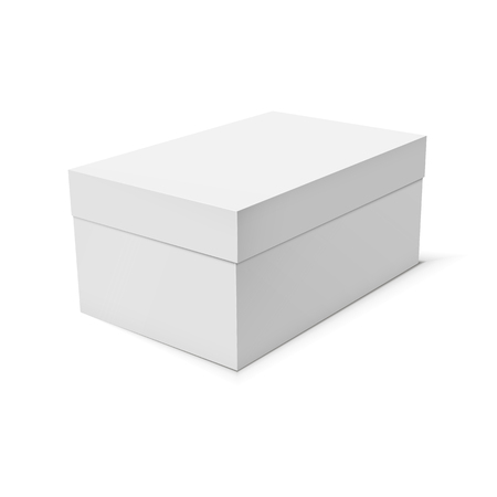 white blank: Blank paper or cardboard box template on white background. Vector illustration.