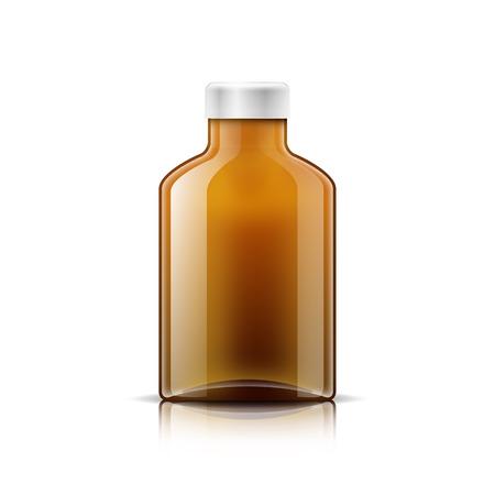 braun: Isolated medicine bottle on white background. Empty medicine bottle for drugs, tablets, capsules. Vector illustration