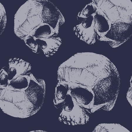 dientes sucios: grunge seamless con los cráneos. Dibujado a mano. Vectores