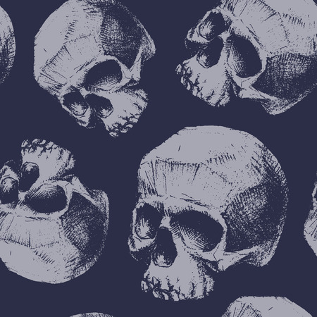 dirty teeth: Grunge seamless pattern with skulls. Hand drawn. Illustration
