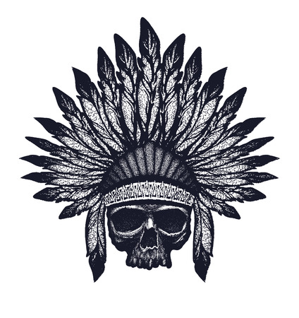 indian chief: skull indian chief hand drawing style illustration Illustration