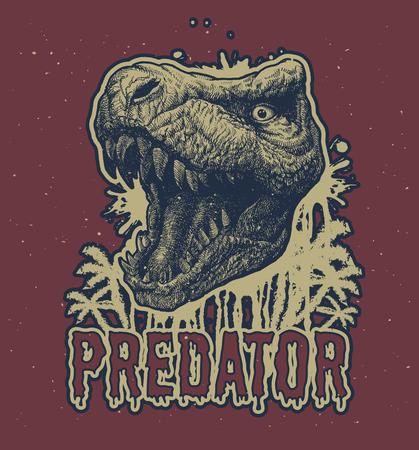 Trex dinosaurio dibujado a mano de fondo.