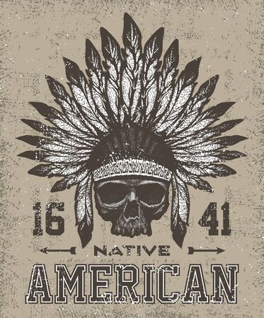 indian chief: skull Indian chief hand drawing style Illustration