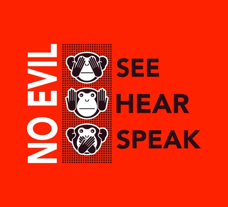 see: See no evil, hear no evil, speak no evil. wise monkeys. Illustration