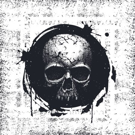 distress: Grunge Black and White Distress Texture . Scratch Texture . Dirty Texture . Wall Background with skull. Hand drawn vector Illustration.