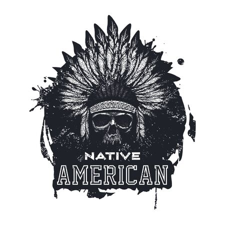 cherokee: skull indian chief hand drawing style vector illustration